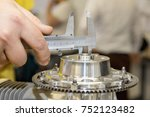 measuring the shaft bore...   Shutterstock . vector #752123482