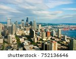 aerial view of downtown seattle ... | Shutterstock . vector #752136646