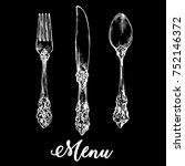 vintage silver knives  forks ... | Shutterstock .eps vector #752146372