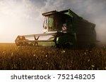 harvesting of soybean field... | Shutterstock . vector #752148205