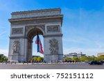 arc de triomphe in paris ... | Shutterstock . vector #752151112