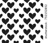 monochrome romantic seamless... | Shutterstock .eps vector #752152852
