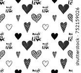 monochrome romantic seamless... | Shutterstock .eps vector #752159026