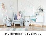 elegant kid room interior... | Shutterstock . vector #752159776