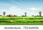 summer farm landscape vector... | Shutterstock .eps vector #752164456