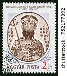 hungary   circa 1986  a stamp... | Shutterstock . vector #752177392