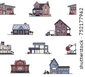 seamless pattern with suburban... | Shutterstock .eps vector #752177962