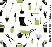 seamless pattern with black and ... | Shutterstock .eps vector #752177986