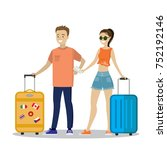 happy young couple passengers... | Shutterstock .eps vector #752192146