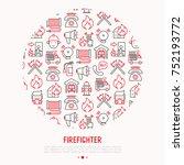 firefighter concept in circle... | Shutterstock .eps vector #752193772