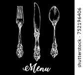 tableware silverware vintage... | Shutterstock .eps vector #752196406