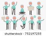 elderly character set  vector... | Shutterstock .eps vector #752197255