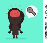 silhouette people with brain... | Shutterstock .eps vector #752197282