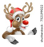 christmas cartoon of reindeer... | Shutterstock .eps vector #752199022