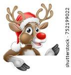 christmas cartoon of reindeer... | Shutterstock .eps vector #752199022