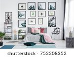 designer chair next to bed with ...   Shutterstock . vector #752208352