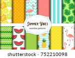 cute set of summer vibes... | Shutterstock .eps vector #752210098