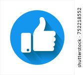 thumb up icon  blue vector logo.... | Shutterstock .eps vector #752218552