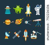 cosmos set concept. set on a... | Shutterstock . vector #752226106