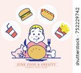 fat boy enjoy eating junk food  ... | Shutterstock .eps vector #752229742
