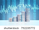 graph coins stock finance and... | Shutterstock . vector #752235772