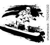 winter sport. snowboarder.... | Shutterstock .eps vector #752242132