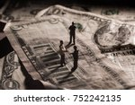 a shady business deal depicted... | Shutterstock . vector #752242135