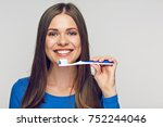 face portrait of woman smiling... | Shutterstock . vector #752244046