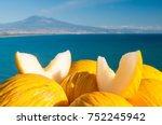 slices of a yellow melon of... | Shutterstock . vector #752245942
