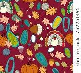 happy thanksgiving   turkey ... | Shutterstock .eps vector #752251495
