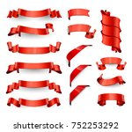 realistic red glossy  ribbons.... | Shutterstock . vector #752253292