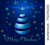 christmas blue ribbon tree  3d...   Shutterstock . vector #752256202