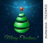 christmas ribbon tree  3d...   Shutterstock . vector #752256922