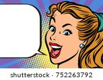 close up face happy woman.... | Shutterstock .eps vector #752263792