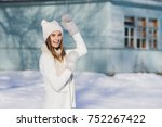 young beautiful girl in hat and ... | Shutterstock . vector #752267422