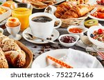 morning breakfast food set with ... | Shutterstock . vector #752274166