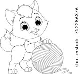 Stock vector vector illustration coloring funny kitten playing with a ball of yarns 752286376
