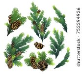 pine tree branches and cones.... | Shutterstock .eps vector #752294926
