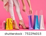 legs of a woman  heels ... | Shutterstock . vector #752296015