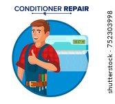 air conditioner repair service... | Shutterstock .eps vector #752303998