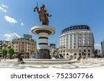 skopje  republic of macedonia   ...   Shutterstock . vector #752307766