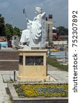 Small photo of SKOPJE, REPUBLIC OF MACEDONIA - 13 MAY 2017: Justinian I Monument and Alexander the Great square in Skopje, Republic of Macedonia