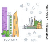 eco city in linear style  ... | Shutterstock .eps vector #752326282