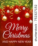 merry christmas red background... | Shutterstock . vector #752327152