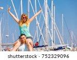 relationship goals  summer love ... | Shutterstock . vector #752329096