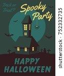 happy halloween poster. cartoon ... | Shutterstock . vector #752332735