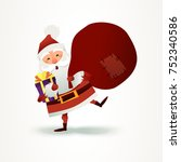 santa claus with sack full of... | Shutterstock . vector #752340586