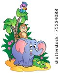 various cute african animals 1  ... | Shutterstock .eps vector #75234088