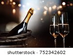 still life with champagne and... | Shutterstock . vector #752342602