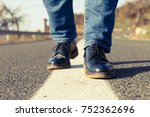 woman feet stepping on the... | Shutterstock . vector #752362696